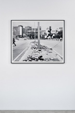 David Goldblatt, The City, The Firewalker and the aftermath of copper cable theft. Queen Elizabeth bridge, Johannesburg. 29 December 2011., , Marian Goodman Gallery