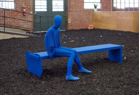 Sayre Gomez, Bench with Figure ('Angst' Model) in Cerulean, 2014, Ghebaly Gallery