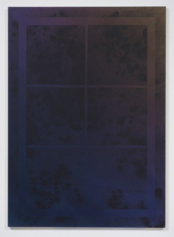 Sayre Gomez, Untitled Painting in Navy Violet and Olive w/ Window Motif, 2014, Ghebaly Gallery