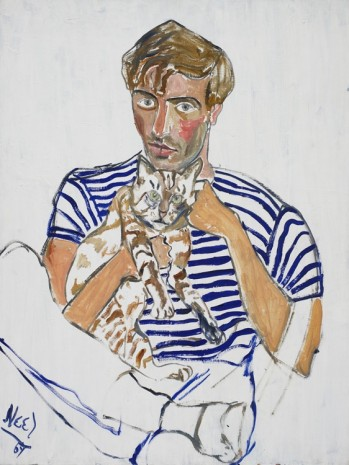 Alice Neel, Hartley with a Cat, 1969, Victoria Miro Gallery
