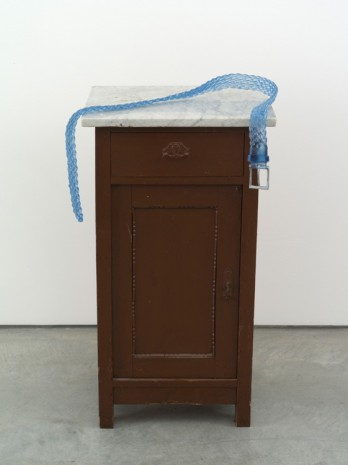 Valentin Carron, Belt on small cabinet, 2014, 303 Gallery