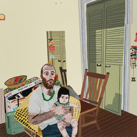 Jonas Wood, Self Portrait with Momo, 2014, David Kordansky Gallery
