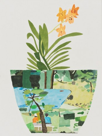 Jonas Wood, Green Landscape Pot with Orchid, 2014, David Kordansky Gallery