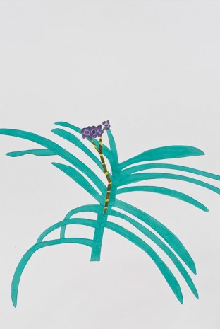 Jonas Wood, Purple Orchid Clipping, 2013, David Kordansky Gallery