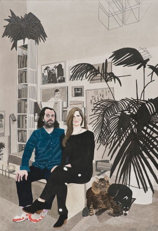Jonas Wood, Brian, Ana, Lulu, and George, 2014, David Kordansky Gallery