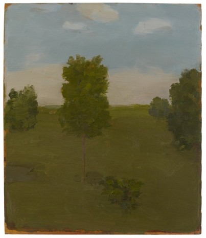 Albert York, Landscape with Four Trees, Bush and Pond, 1981, Matthew Marks Gallery