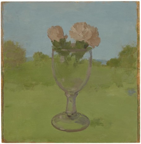 Albert York, Landscape with Two Pink Carnations in a Glass Goblet, 1983, Matthew Marks Gallery