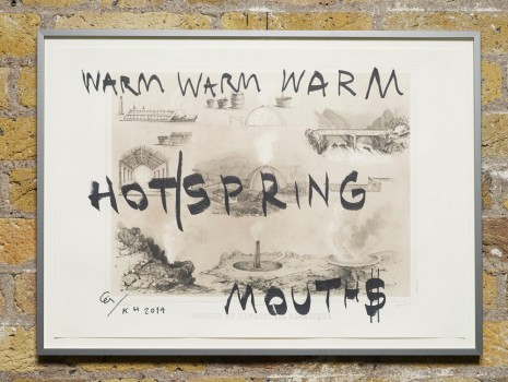 Ei Arakawa and Karl Holmqvist, Untitled (WARM WARM WARM HOT/SPRING MOUTH$), 2014, Hollybush Gardens