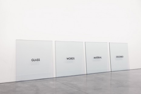 Joseph Kosuth, Glass Words Material Described, 1965, Andrea Rosen Gallery
