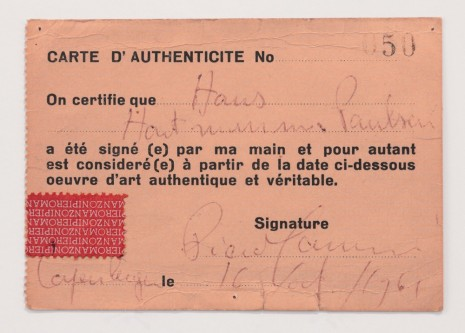 Piero Manzoni, Declaration of Authenticity No. 50 (Carte d'authenticité No. 50), 1961, Andrea Rosen Gallery