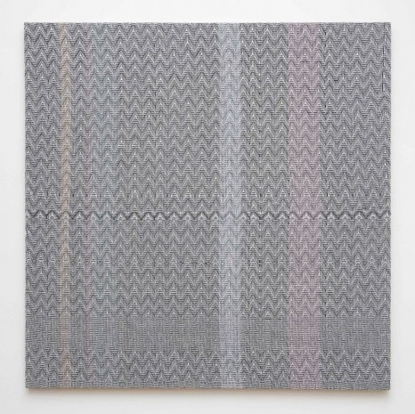 Heather Cook, Shadow Weave Black(13) and White(14) 8/4 Cotton 15 EPI and Painted Warp #1, 2014, Marianne Boesky Gallery