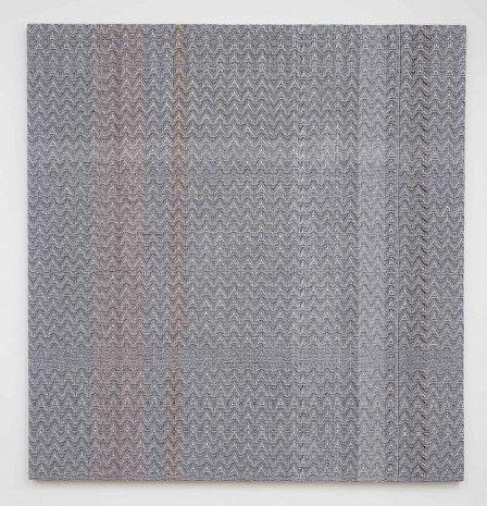 Heather Cook, Shadow Weave Black(13) and White(14) 8/4 Cotton 15 EPI and Painted Warp #4, 2014, Marianne Boesky Gallery