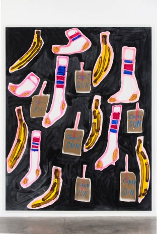 Katherine Bernhardt, Socks, bananas and capri suns, 2014, Gavin Brown's enterprise