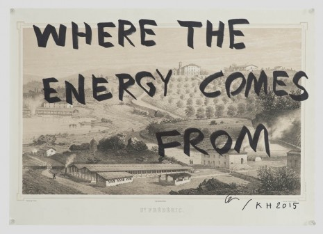 Ei Arakawa and Karl Holmqvist, Untitled (WHERE THE ENERGY COMES FROM), 2015, OVERDUIN & CO.