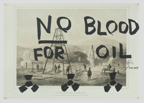 Ei Arakawa and Karl Holmqvist, Untitled (NO BLOOD FOR OIL), 2015, OVERDUIN & CO.