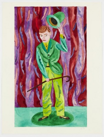 Christoph Ruckhäberle, Untitled (Green man performing), 2011, Galleri Nicolai Wallner