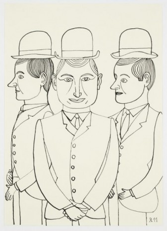 Christoph Ruckhäberle, Untitled (Three staring men folding hands), 2011, Galleri Nicolai Wallner