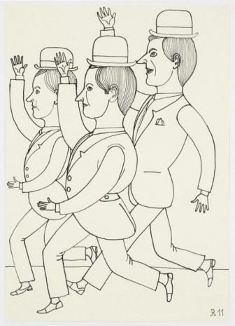 Christoph Ruckhäberle, Untitled (Three dancing men with hands above head), 2011, Galleri Nicolai Wallner