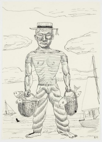 Christoph Ruckhäberle, Untitled (Sailor and fish), 2011, Galleri Nicolai Wallner