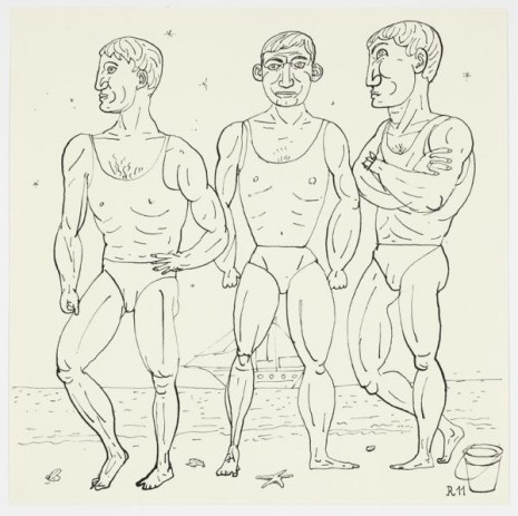 Christoph Ruckhäberle, Untitled (Three men on beach and ship), 2011, Galleri Nicolai Wallner