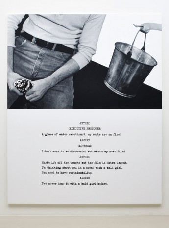 John Baldessari, Pictures & Scripts: A glass of water sweetheart, 2015, Marian Goodman Gallery