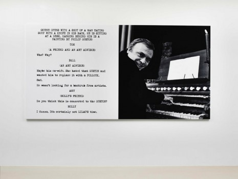 John Baldessari, Pictures & Scripts: A man eating soup with a knife in his back., 2015, Marian Goodman Gallery