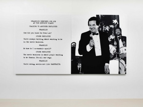 John Baldessari, Pictures & Scripts: Franklin despised his job at the ketchup plant., 2015, Marian Goodman Gallery