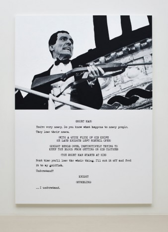 John Baldessari, Pictures & Scripts: With a quick flick of his knife., 2015, Marian Goodman Gallery