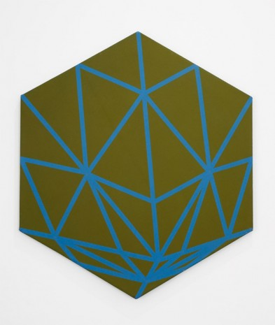 Florin Maxa, Hexagon with turquoise lines, 1980, Exile