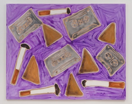 Katherine Bernhardt, Cassette tapes, cigarettes, and Doritos, 2014, China Art Objects Galleries