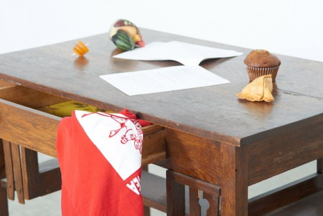Darren Bader, 1 pizza (choose your own toppings and diamter upon purchase) filled with 103 'for example's melted under cheese..., 2012, Tanya Bonakdar Gallery