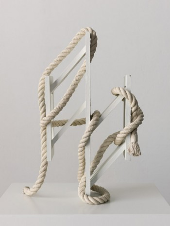 Ricky Swallow, Skewed Open Structure with Rope #2 (white), 2015, David Kordansky Gallery