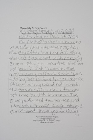 Andrea Bowers, Make My Story Count, Letters to Planned Parenthood (My Story Begins), 2011, Andrew Kreps Gallery