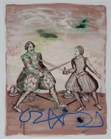 David Godbold, Untitled (Duelists with green clouds), 2015, Kerlin Gallery