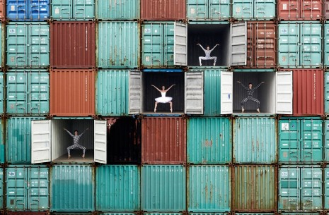 JR, Ballet dancers in containers, Le Havre, France, 2014, Perrotin