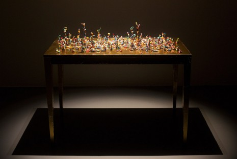 Nathalie Djurberg, Gold Table with Pills, 2015, Giò Marconi