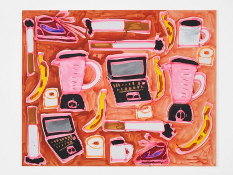 Katherine Bernhardt, Strawberry Smoothie, 2015, Carl Freedman Gallery