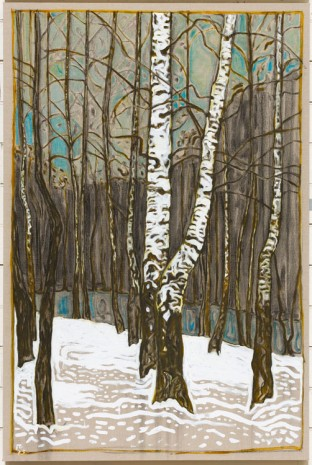 Billy Childish, birch trees winter, 2015, Lehmann Maupin