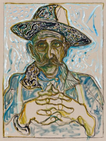 Billy Childish, self portrait in hat, 2015, Lehmann Maupin