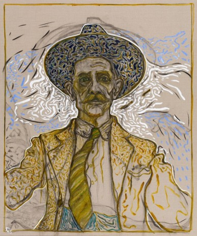 Billy Childish, self portrait with tie, 2015, Lehmann Maupin