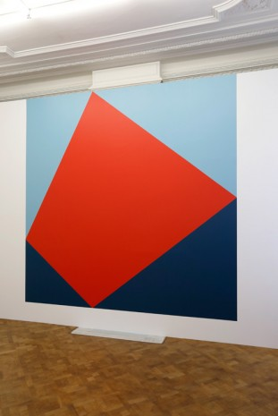 Angela Bulloch, Square, Rhombus Wall Painting Pale Blue, Red and Dark Blue, 2015, Galerie Micheline Szwajcer (closed)