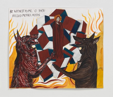 Marcel Dzama and Raymond Pettibon, Be witness to me, O thou blessed Mother Moon, 2016, David Zwirner