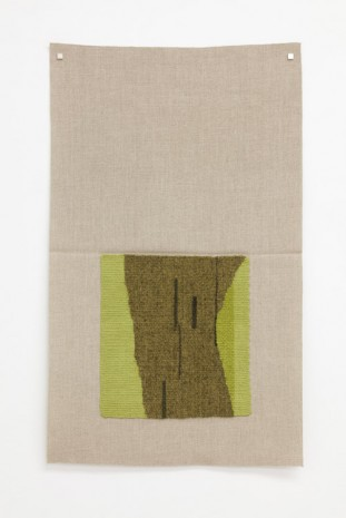 Helen Mirra, Typewriter drawing, precommencement (lichendyed brown-green, yellow-green, dark green), 2015, Galerie Nordenhake