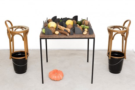 Adriano Costa, Mesa Quase Impossível Com Comida, Se Houver (Almost Impossible Table With Food, If There Is), 2015, Mendes Wood DM
