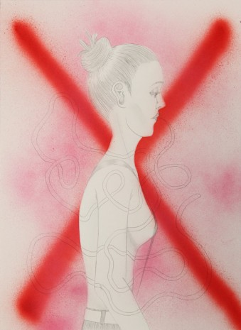 Ed Templeton, Untitled (Girl with red X), 2015, Tim Van Laere Gallery