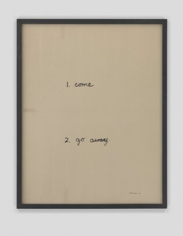 B. Wurtz, Untitled (come go away), 1973, Metro Pictures