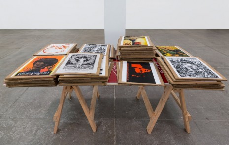 Andrea Bowers, Work Table with Feminist Political Graphics, 2016, Andrew Kreps Gallery