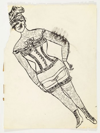 Andy Warhol, Tattooed Female In Girdle, ca. 1955, Anton Kern Gallery