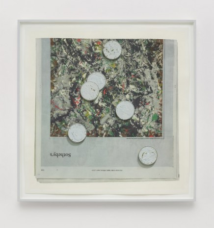 Paul Sietsema, Painted coins (white on green), 2015, Matthew Marks Gallery