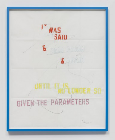 Lawrence Weiner, Parameters, 2016, Regen Projects